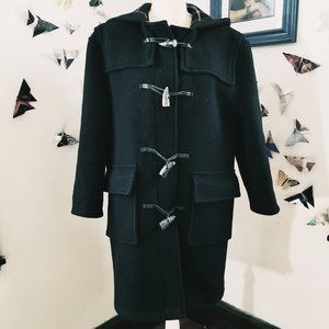 Burberry Black Toggle Wool Red Plaid Coat S